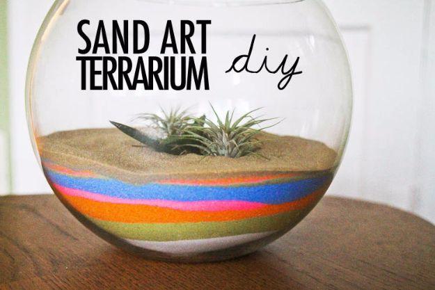 DIY Terrarium Ideas - Sand Art Terrarium - Cool Terrariums and Crafts With Mason Jars, Succulents, Wood, Geometric Designs and Reptile, Acquarium - Easy DIY Terrariums for Adults and Kids To Make at Home http://diyjoy.com/diy-terrarium-ideas