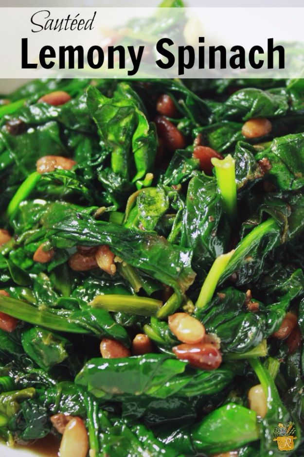 Best Spinach Recipes - Sauteed Lemony Spinach - Easy, Healthy Lowfat Recipe Ideas for Dinner, Salads, Lunches, Sides, Smoothies and Even Dessert - Qucik and Creative Ideas for Vegetables - Cheesy, Creamed, Country Style Favorites for Family and For Kids http://diyjoy.com/best-spinach-recipes