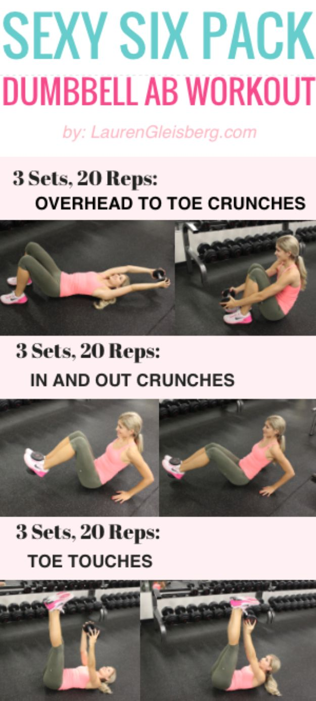 Best Quick At Home Workouts - Sexy Six Pack Dumbbell Ab Workout - Easy Tutorials and Work Out Ideas for Strength Training and Exercises - Step by Step Tutorials for Butt Workouts, Abs Tummy and Stomach, Legs, Arms, Chest and Back - Fast 5 and 10 Minute Workouts You Can Do On Your Lunch Break, In Car, in Hotel #exercise #health