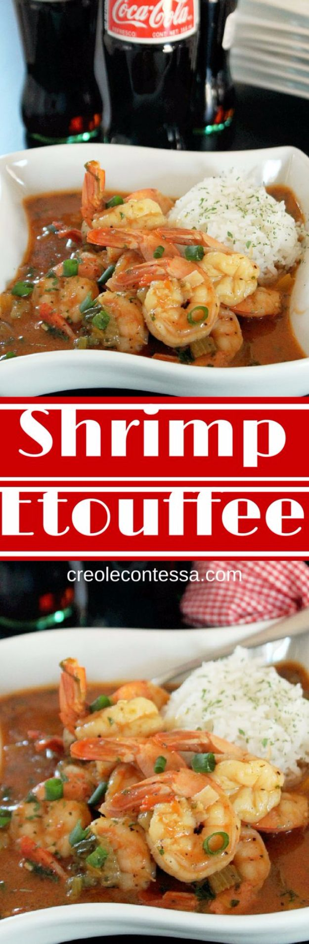 Best Coca Cola Recipes - Shrimp Etouffee with Coca Cola - Make Awesome Coke Chicken, Coca Cola Cake, Meatballs, Sodas, Drinks, Sweets, Dinners, Meat, Slow Cooker and Recipe Ideas With Cake Mixes - Fun Food Projects For Families and Parties With Step By Step Tutorials http://diyjoy.com/coca-cola-recipes