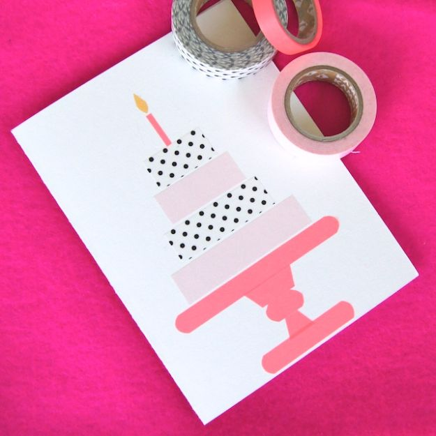 DIY Birthday Cards - Simple Birthday Card - Easy and Cheap Handmade Birthday Cards To Make At Home - Cute Card Projects With Step by Step Tutorials are Perfect for Birthdays for Mom, Dad, Kids and Adults - Pop Up and Folded Cards, Creative Gift Card Holders and Fun Ideas With Cake #birthdayideas #birthdaycards