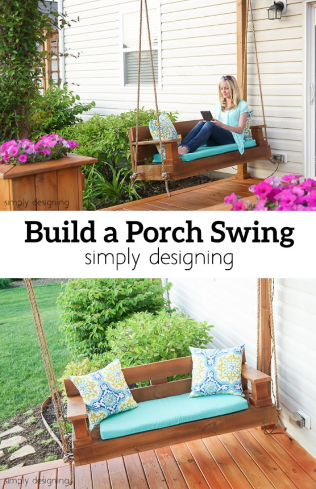 DIY Swings - Simple Porch Swing - Best Do It Yourself Swing Projects and Tutorials for Tire, Rocking, Hanging, Double Seat, Porch, Patio and Yard. Easy Ideas for Kids and Adults - Make The Best Backyard Ever This Summer With These Awesome Seating and Play Ideas for Swings - Creative Home Decor and Crafts by DIY JOY http://diyjoy.com/diy-swings