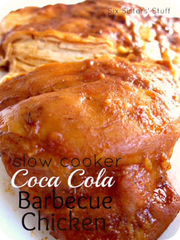 Best Coca Cola Recipes - Slow Cooker Coca Cola Barbecue Chicken - Make Awesome Coke Chicken, Coca Cola Cake, Meatballs, Sodas, Drinks, Sweets, Dinners, Meat, Slow Cooker and Recipe Ideas #cocacola #recipes #desserts