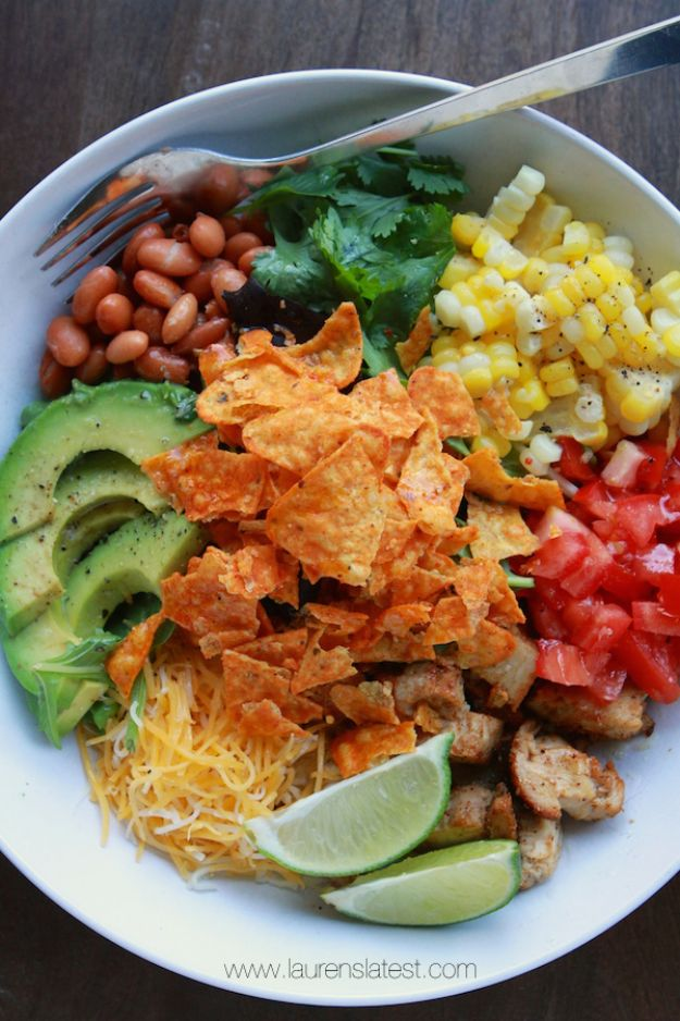 DIY Recipes Made With Doritos - Southwest Salad With Garlic Lime Dressing And Doritos - Best Dorito Recipes for Casserole, Taco Salad, Chicken Dinners, Beef Casseroles, Nachos, Easy Cool Ranch Meals and Ideas for Dips, Snacks and Kids Recipe Tutorials - Quick Lunch Ideas and Recipes for Parties