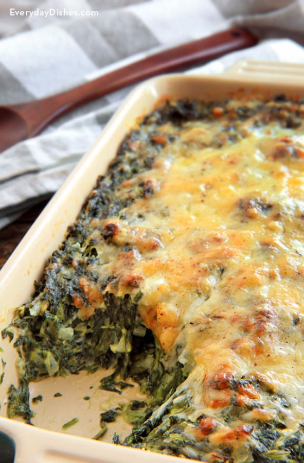 Best Spinach Recipes - Spinach Gratin - Easy, Healthy Lowfat Recipe Ideas for Dinner, Salads, Lunches, Sides, Smoothies and Even Dessert - Qucik and Creative Ideas for Vegetables - Cheesy, Creamed, Country Style Favorites for Family and For Kids http://diyjoy.com/best-spinach-recipes