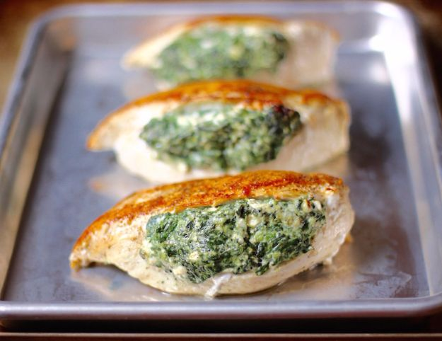 Best Spinach Recipes - Spinach Stuffed Chicken Breasts - Easy, Healthy Lowfat Recipe Ideas for Dinner, Salads, Lunches, Sides, Smoothies and Even Dessert - Qucik and Creative Ideas for Vegetables - Cheesy, Creamed, Country Style Favorites for Family and For Kids http://diyjoy.com/best-spinach-recipes