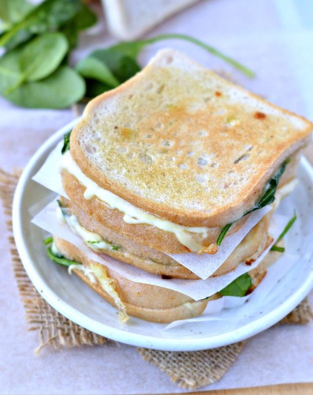 Best Spinach Recipes - Spinach Stuffed Grilled Cheese Sandwich - Easy, Healthy Lowfat Recipe Ideas for Dinner, Salads, Lunches, Sides, Smoothies and Even Dessert - Qucik and Creative Ideas for Vegetables - Cheesy, Creamed, Country Style Favorites for Family and For Kids http://diyjoy.com/best-spinach-recipes