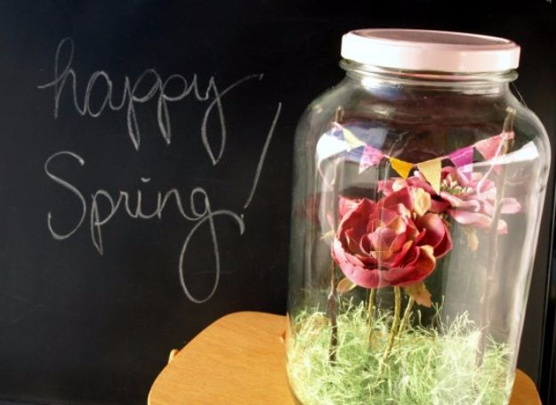 DIY Terrarium Ideas - Spring Terrarium - Cool Terrariums and Crafts With Mason Jars, Succulents, Wood, Geometric Designs and Reptile, Acquarium - Easy DIY Terrariums for Adults and Kids To Make at Home