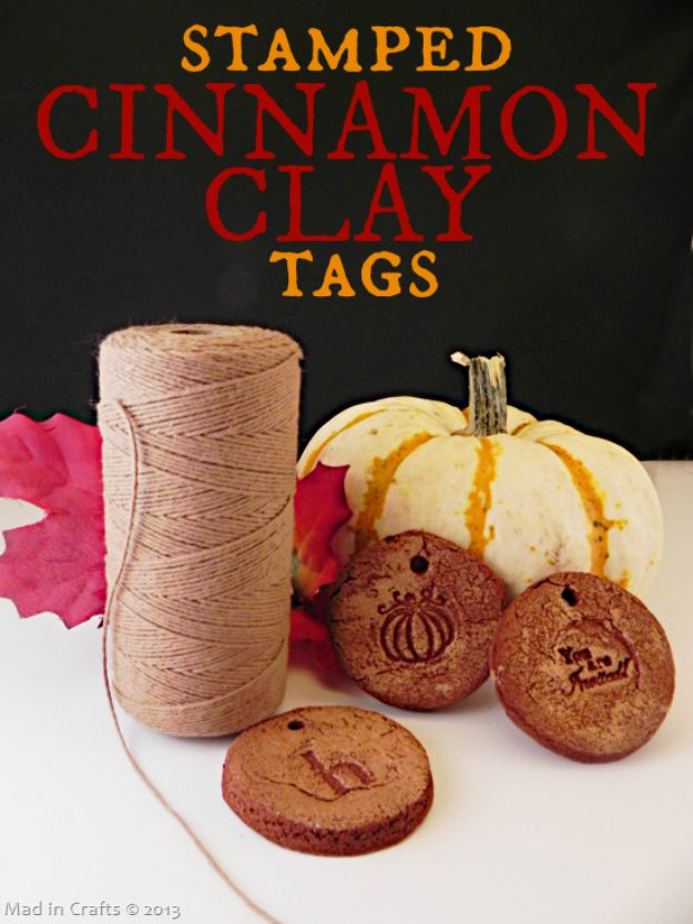 Homemade Gift Cards and Tags - Stamped Cinnamon Clay Tags - Easy and Cheap Ideas for Creative Handmade Birthday, Christmas, Mothers Day and Father Day Cards - Cute Holiday Gift Tags, Dollar Store Crafts, Homemade DIY Gifts and Gift Card Holders You Can Make at Home - Fun Crafts for Adults, Kids and Teens #diygifts #gifttags