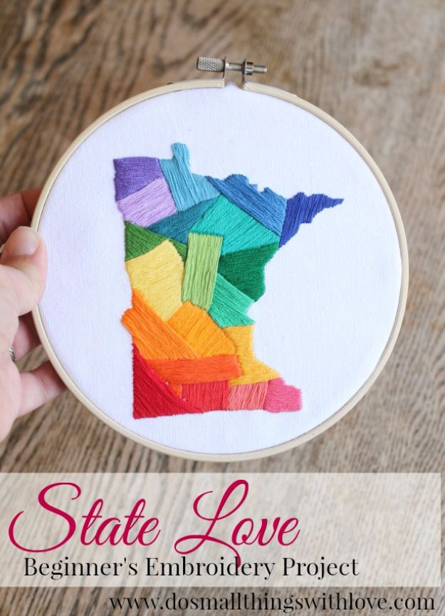 Free Embroidery Patterns - State Love Embroidery DIY - Best Embroidery Projects and Step by Step DIY Tutorials for Making Home Decor, Wall Art, Pillows and Creative Handmade Sewing Gifts embroidery gifts diy ideas