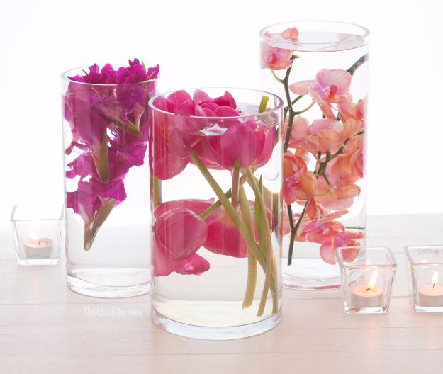 DIY Wedding Centerpieces - Submerged Flower Centerpiece - Do It Yourself Ideas for Brides and Best Centerpiece Ideas for Weddings - Step by Step Tutorials for Making Mason Jars, Rustic Crafts, Flowers, Modern Decor, Vintage and Cheap Ideas for Couples on A Budget Outdoor and Indoor Weddings #diyweddings #weddingcenterpieces #weddingdecorideas
