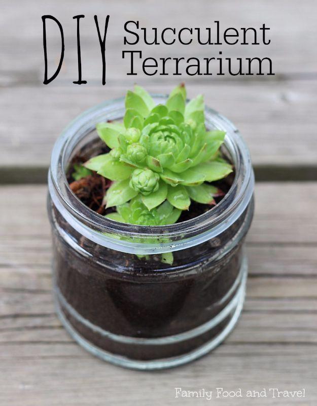 DIY Terrarium Ideas - Succulent Terrarium - Cool Terrariums and Crafts With Mason Jars, Succulents, Wood, Geometric Designs and Reptile, Acquarium - Easy DIY Terrariums for Adults and Kids To Make at Home http://diyjoy.com/diy-terrarium-ideas