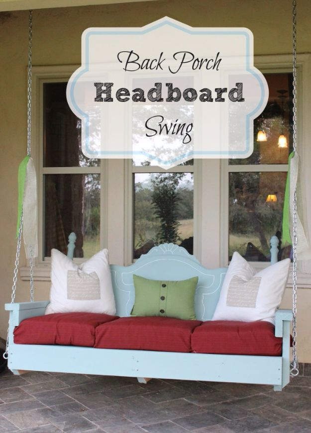 DIY Swings - Summer Back Porch Headboard Swing - Best Do It Yourself Swing Projects and Tutorials for Tire, Rocking, Hanging, Double Seat, Porch, Patio and Yard. Easy Ideas for Kids and Adults - Make The Best Backyard Ever This Summer With These Awesome Seating and Play Ideas for Swings - Creative Home Decor and Crafts by DIY JOY