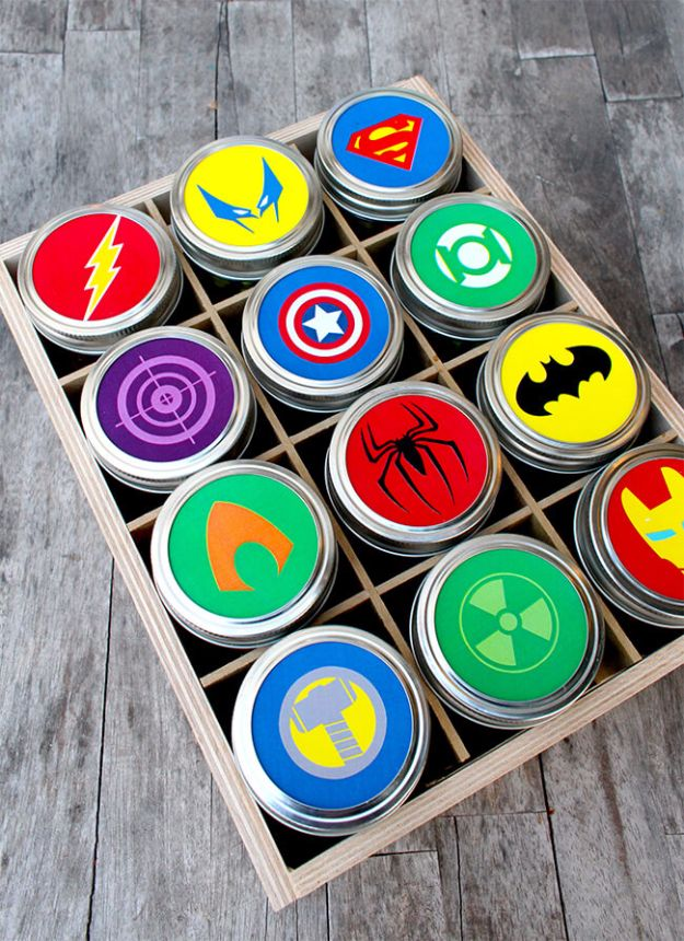 Free Printables for Mason Jars - Superhero Gift With Free Mason Jar Lid Printables - Best Ideas for Tags and Printable Clip Art for Fun Mason Jar Gifts and Organization - Sugar scrub, Teacher Gifts, Valentines, Cookie Mixes, Party Favors, Wedding Holidays and Fun Recipes - DIY Mason Jar Gifts and Home Decor Crafts by DIY JOY http://diyjoy.com/free-printables-mason-jars