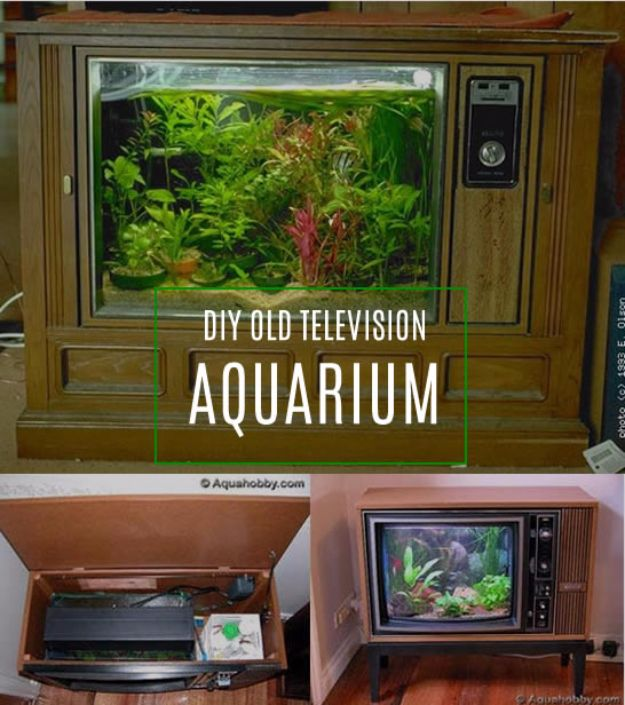 DIY Aquarium Ideas - TV Aquarium - Cool and Easy Decorations for Tank Aquariums, Mason Jar, Wall and Stand Projects for Fish - Creative Background Ideas - Fun Tutorials for Kids to Make With Plants and Decor - Best Home Decor and Crafts by DIY JOY http://diyjoy.com/diy-aquariums