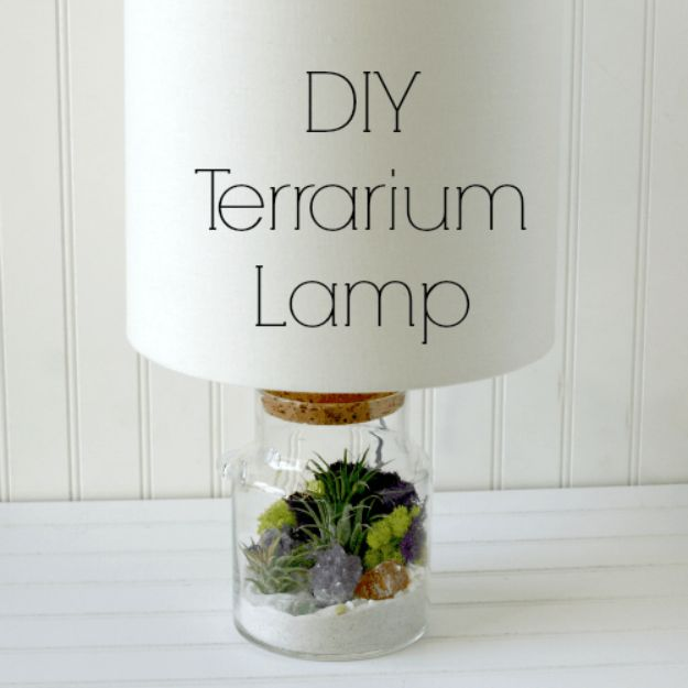 DIY Terrarium Ideas - Terrarium Lamp - Cool Terrariums and Crafts With Mason Jars, Succulents, Wood, Geometric Designs and Reptile, Acquarium - Easy DIY Terrariums for Adults and Kids To Make at Home http://diyjoy.com/diy-terrarium-ideas