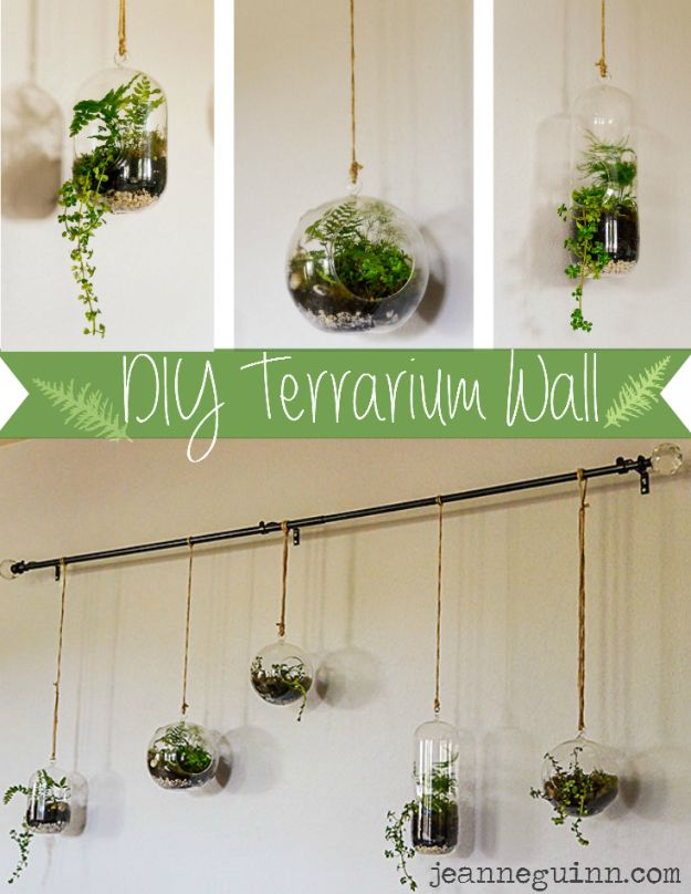DIY Terrarium Ideas - Terrarium Wall - Cool Terrariums and Crafts With Mason Jars, Succulents, Wood, Geometric Designs and Reptile, Acquarium - Easy DIY Terrariums for Adults and Kids To Make at Home