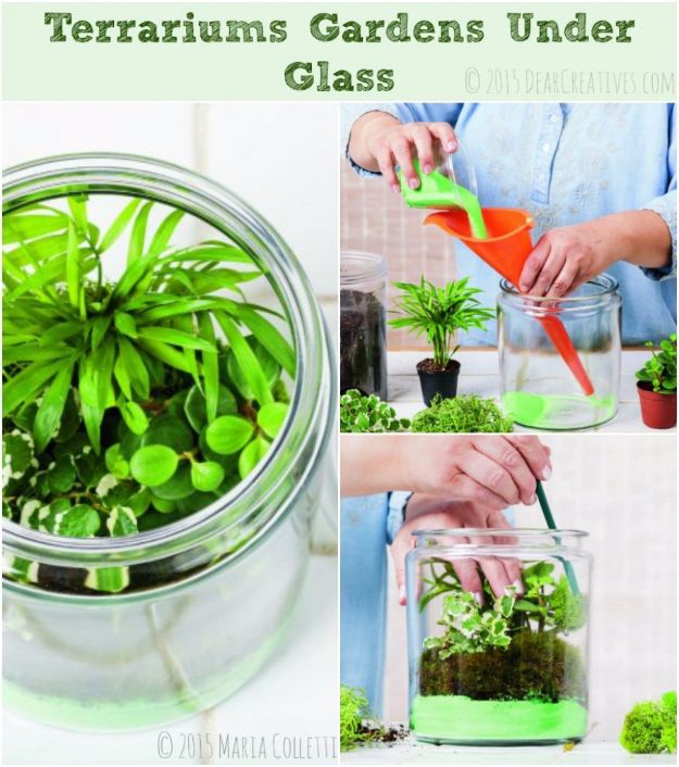 DIY Terrarium Ideas - Terrariums Gardens Under Glass - Cool Terrariums and Crafts With Mason Jars, Succulents, Wood, Geometric Designs and Reptile, Acquarium - Easy DIY Terrariums for Adults and Kids To Make at Home