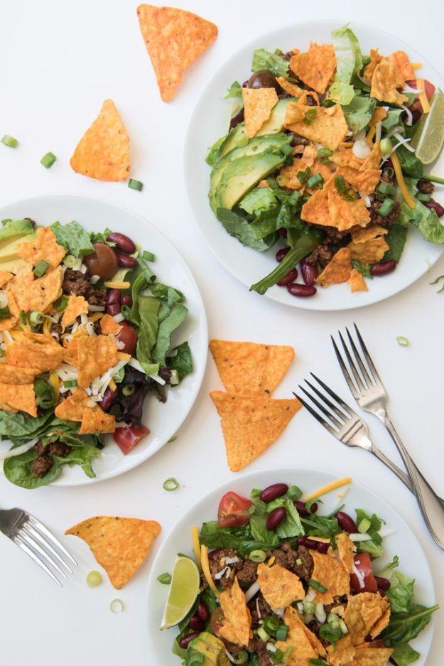 DIY Recipes Made With Doritos - Tex Mex Doritos Taco Salad - Best Dorito Recipes for Casserole, Taco Salad, Chicken Dinners, Beef Casseroles, Nachos, Easy Cool Ranch Meals and Ideas for Dips, Snacks and Kids Recipe Tutorials - Quick Lunch Ideas and Recipes for Parties http://diyjoy.com/recipe-ideas-doritos