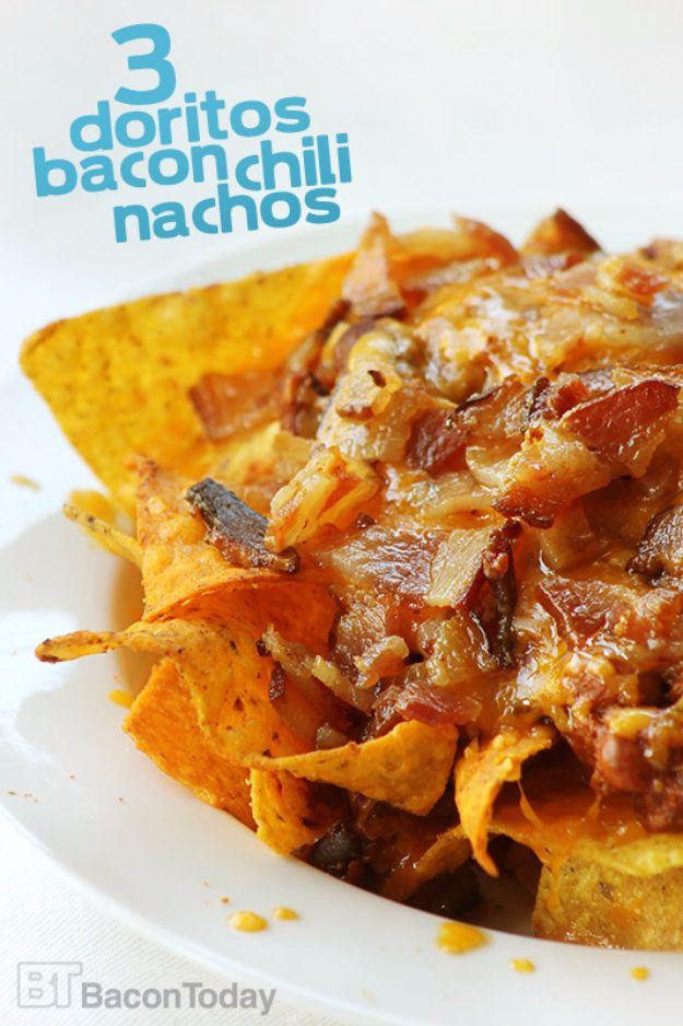 DIY Recipes Made With Doritos - Three Doritos Chili Bacon Nachos - Best Dorito Recipes for Casserole, Taco Salad, Chicken Dinners, Beef Casseroles, Nachos, Easy Cool Ranch Meals and Ideas for Dips, Snacks and Kids Recipe Tutorials - Quick Lunch Ideas and Recipes for Parties http://diyjoy.com/recipe-ideas-doritos