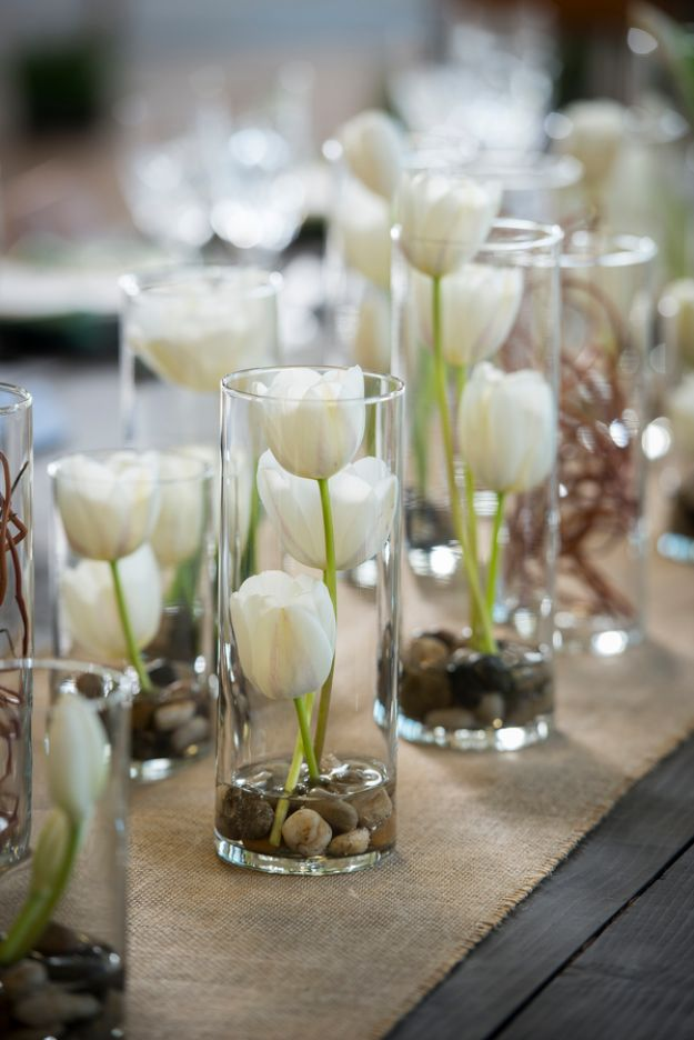 DIY Wedding Centerpieces - Tulips In Glass Vases - Do It Yourself Ideas for Brides and Best Centerpiece Ideas for Weddings - Step by Step Tutorials for Making Mason Jars, Rustic Crafts, Flowers, Modern Decor, Vintage and Cheap Ideas for Couples on A Budget Outdoor and Indoor Weddings #diyweddings #weddingcenterpieces #weddingdecorideas