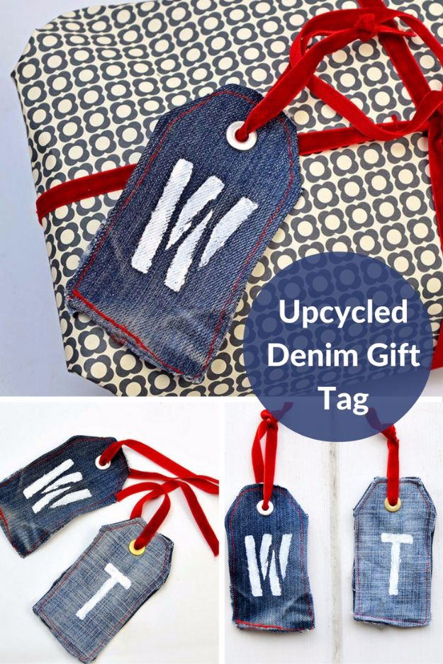 Homemade Gift Cards and Tags - Upcycled Denim Gift Tag - Easy and Cheap Ideas for Creative Handmade Birthday, Christmas, Mothers Day and Father Day Cards - Cute Holiday Gift Tags, Dollar Store Crafts, Homemade DIY Gifts and Gift Card Holders You Can Make at Home - Fun Crafts for Adults, Kids and Teens http://diyjoy.com/homemade-gift-cards-tags