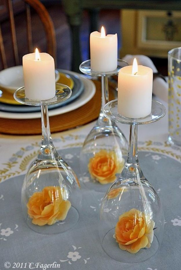 DIY Wedding Centerpieces - Upside Down Wine Glass Wedding Centerpiece - Do It Yourself Ideas for Brides and Best Centerpiece Ideas for Weddings - Step by Step Tutorials for Making Mason Jars, Rustic Crafts, Flowers, Modern Decor, Vintage and Cheap Ideas for Couples on A Budget Outdoor and Indoor Weddings #diyweddings #weddingcenterpieces #weddingdecorideas