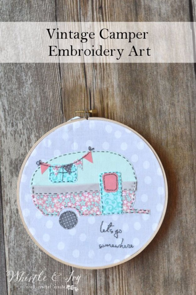 Free Embroidery Patterns - Vintage Camper Embroidery - Best Embroidery Projects and Step by Step DIY Tutorials for Making Home Decor, Wall Art, Pillows and Creative Handmade Sewing Gifts embroidery gifts diy ideas