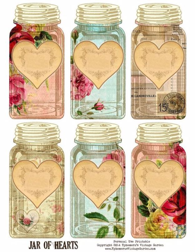 Free Printables for Mason Jars - Vintage Jar Of Hearts - Best Ideas for Tags and Printable Clip Art for Fun Mason Jar Gifts and Organization#masonjar #crafts #printables