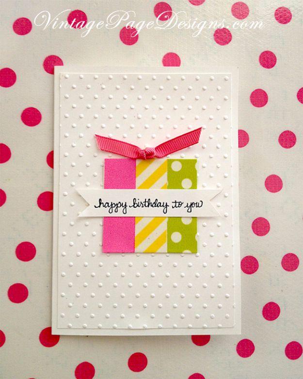 DIY Birthday Cards - Washi Tape Birthday Card - Easy and Cheap Handmade Birthday Cards To Make At Home - Easy Washi Tape Crafts for Birthday Cards Tutorial