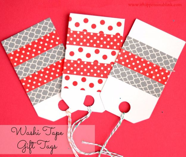 Easy DIY Gift Cards and Handmade Gift Tags Ideas- Washi Tape Gift Tags - Easy and Cheap Ideas for Creative Handmade Birthday, Christmas, Mothers Day and Father Day Cards - Cute Holiday Gift Tags, Dollar Store Crafts, Homemade DIY Gifts and Gift Card Holders You Can Make at Home - Fun Crafts for Adults, Kids and Teens