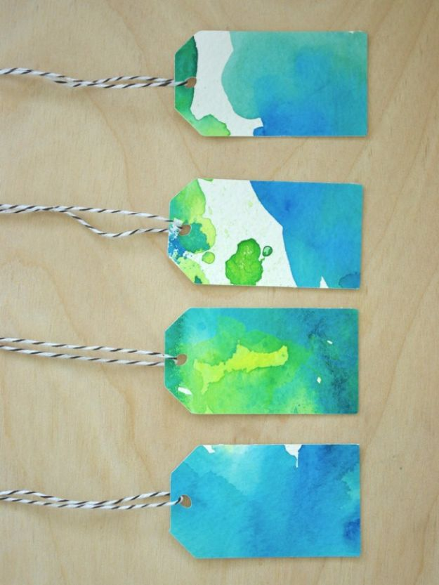 Homemade Gift Cards and Tags - Watercolor Gift Tags - Easy and Cheap Ideas for Creative Handmade Birthday, Christmas, Mothers Day and Father Day Cards - Cute Holiday Gift Tags, Dollar Store Crafts, Homemade DIY Gifts and Gift Card Holders You Can Make at Home - Fun Crafts for Adults, Kids and Teens http://diyjoy.com/homemade-gift-cards-tags