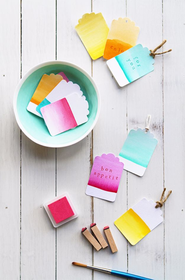 Homemade Gift Cards and Tags - Watercolor Gradient Gift Tags - Easy and Cheap Ideas for Creative Handmade Birthday, Christmas, Mothers Day and Father Day Cards - Cute Holiday Gift Tags, Dollar Store Crafts, Homemade DIY Gifts and Gift Card Holders You Can Make at Home - Fun Crafts for Adults, Kids and Teens http://diyjoy.com/homemade-gift-cards-tags