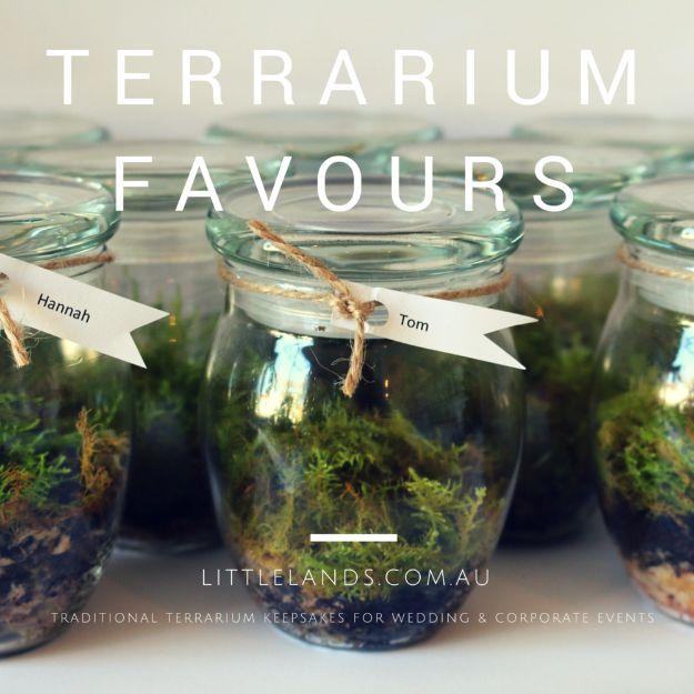 DIY Terrarium Ideas - Wedding Favour Terrarium - Cool Terrariums and Crafts With Mason Jars, Succulents, Wood, Geometric Designs and Reptile, Acquarium - Easy DIY Terrariums for Adults and Kids To Make at Home http://diyjoy.com/diy-terrarium-ideas