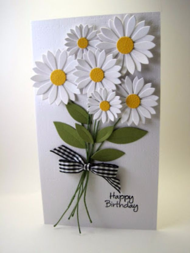 DIY Birthday Cards - White Daisies Birthday Card - Easy and Cheap Handmade Birthday Cards To Make At Home - Cute Card Projects With Step by Step Tutorials are Perfect for Birthdays for Mom, Dad, Kids and Adults - Pop Up and Folded Cards, Creative Gift Card Holders and Fun Ideas With Cake http://diyjoy.com/diy-birthday-cards