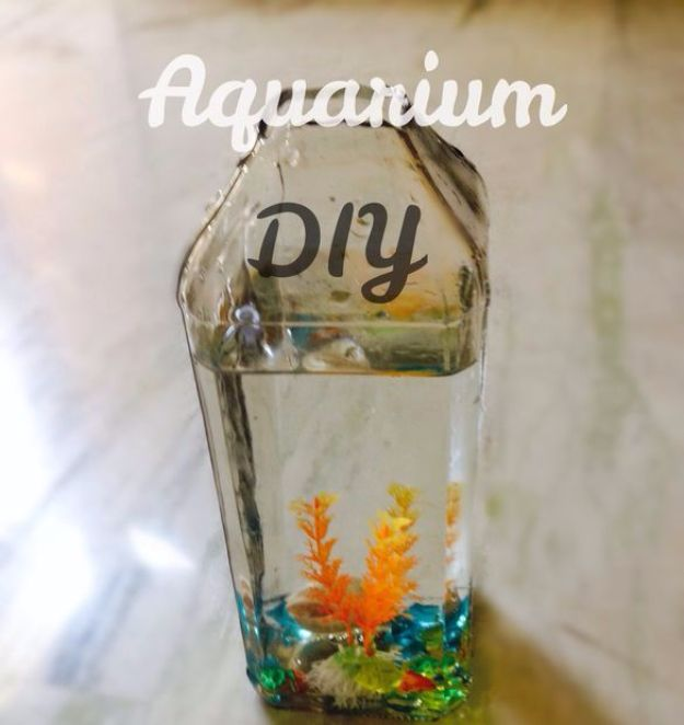 DIY Aquarium Ideas - Wine Bottle Aquarium - Cool and Easy Decorations for Tank Aquariums, Mason Jar, Wall and Stand Projects for Fish - Creative Background Ideas - Fun Tutorials for Kids to Make With Plants and Decor - Best Home Decor and Crafts by DIY JOY