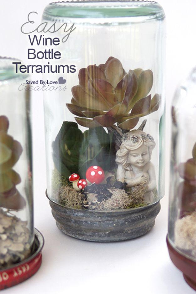 DIY Terrarium Ideas - Wine Bottle Terrarium - Cool Terrariums and Crafts With Mason Jars, Succulents, Wood, Geometric Designs and Reptile, Acquarium - Easy DIY Terrariums for Adults and Kids To Make at Home http://diyjoy.com/diy-terrarium-ideas