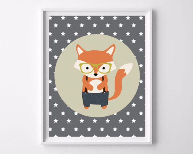 Best Free Printables For Your Walls - Woodland Fox Free Printable - Free Prints for Wall Art and Picture to Print for Home and Bedroom Decor - Crafts to Make and Sell With Ideas for the Home, Organization #diy