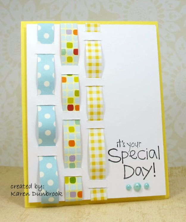 DIY Birthday Cards - Woven Wishes Birthday Card - Easy and Cheap Handmade Birthday Cards To Make At Home - Cute Card Projects With Step by Step Tutorials are Perfect for Birthdays for Mom, Dad, Kids and Adults - Pop Up and Folded Cards, Creative Gift Card Holders and Fun Ideas With Cake http://diyjoy.com/diy-birthday-cards