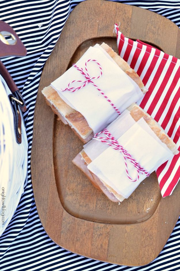 DIY Picnic Ideas - Wrap Sandwiches In Parchment - Cool Recipes and Tips for Picnics and Meals Outdoors - Recipes, Easy Sandwich Wraps, Blankets, Baskets and Carriers to Make for Fun Family Outings and Romantic Date Ideas - Mason Jar Drinks, Snack Holders, Utensil Caddy and Picnic Hacks http://diyjoy.com/diy-picnic-ideas