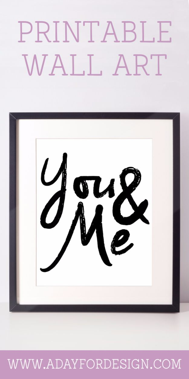 Best Free Printables For Your Walls - You & Me Printable Poster - Free Prints for Wall Art and Picture to Print for Home and Bedroom Decor - Crafts to Make and Sell With Ideas for the Home, Organization #diy