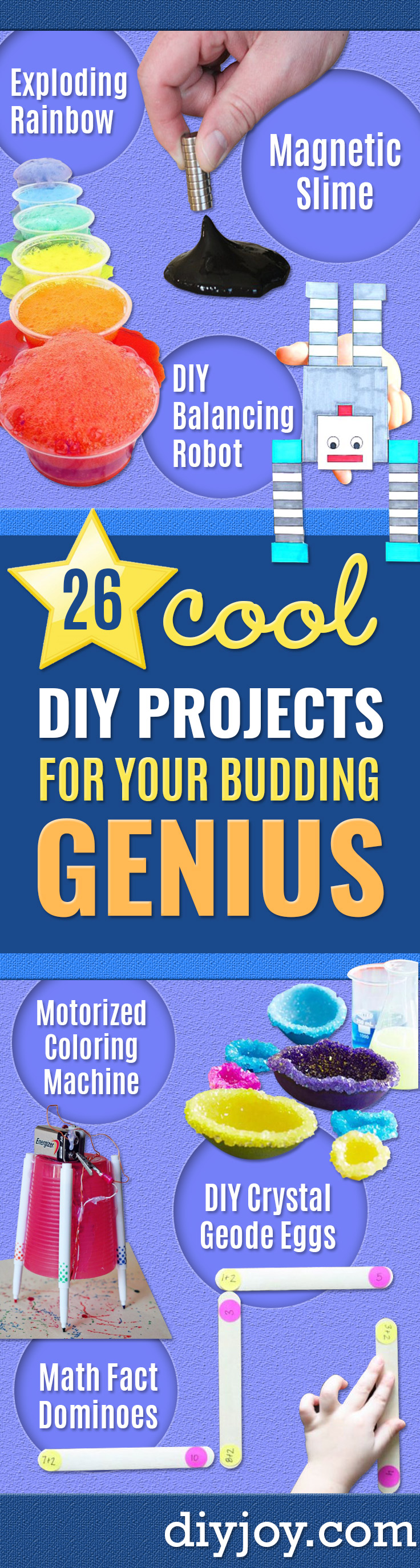 DIY Stem and Science Ideas for Kids and Teens - Fun and Easy Do It Yourself Projects and Crafts Using Math, Electronics, Engineering Concepts and Basic Building Skills - Creatve and Cool Project Tutorials For Kids To Make At Home This Summer - Boys, Girls and Teenagers Have Fun Making Room Decor, Experiments and Playtime STEM Fun http://diyjoy.com/diy-stem-science-projects