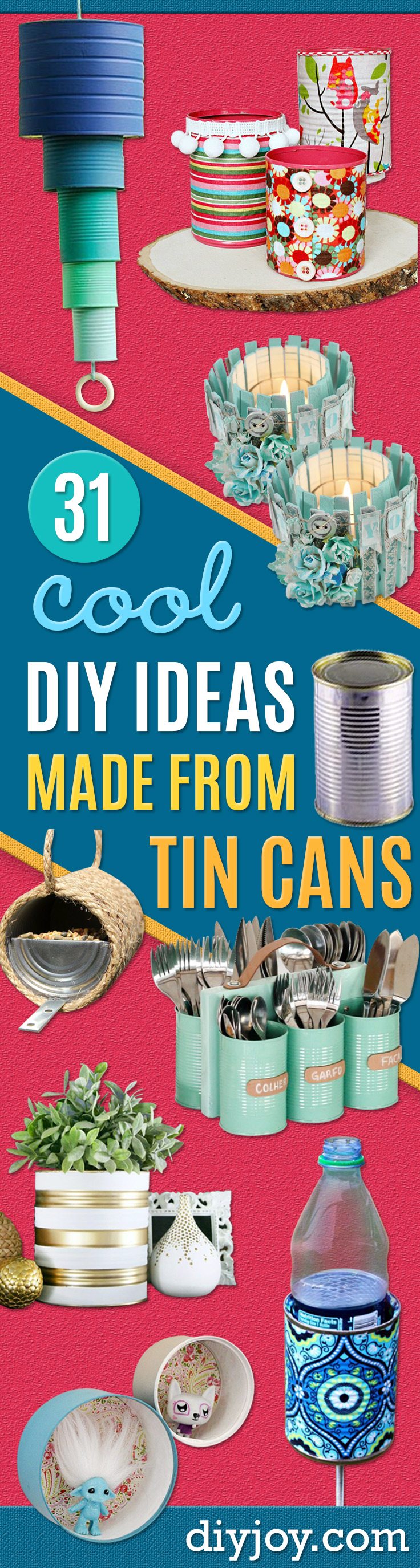 Tin Can Crafts - DIY Ideas With Old Tin Cans - Rustic Farmhouse Decor Tutorials and Projects Made With An Old Tin Can - Easy Vintage Shelving, Wall Art, Picture Frames and Home Decor for Kitchen, Living Room and Bathroom - Creative Country Crafts, Craft Room Storage, Silverware Holder, Rustic Wall Art and Accessories to Make and Sell