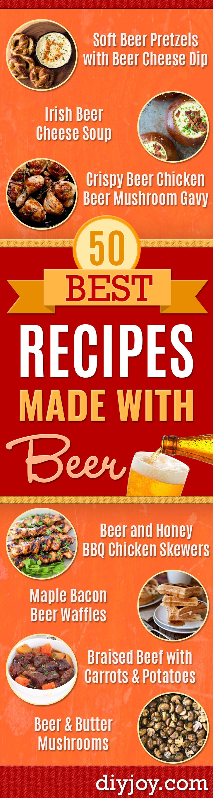 Best Recipes Made With Beer - Easy Dinner, Lunch and Snack Recipe Ideas Made With Beer - Food for the Slow Cooker and Crockpot, Meat and Chicken Dishes, Appetizers, Homemade Pretzels, Summer BBQ Sauces and Party Food Ideas