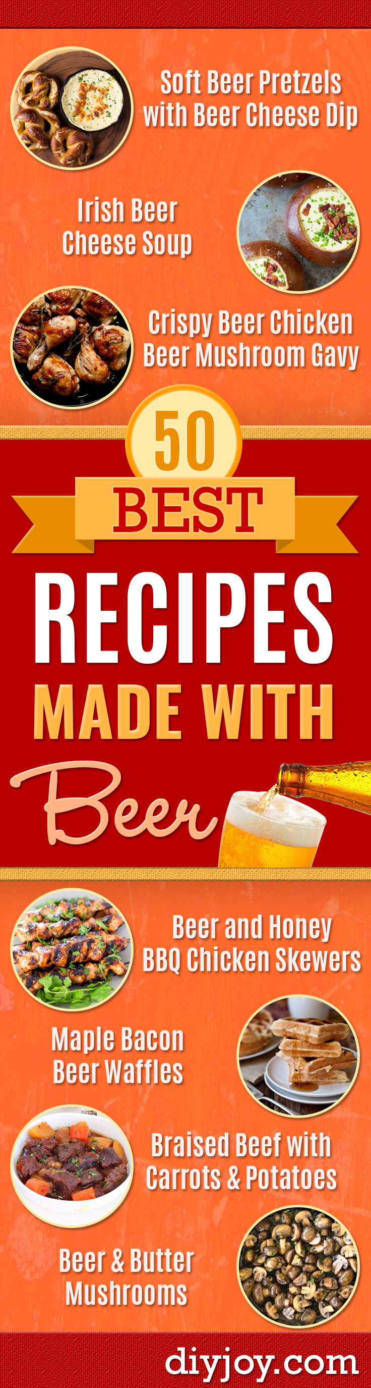 Best Recipes Made With Beer - Easy Dinner, Lunch and Snack Recipe Ideas Made With Beer - Food for the Slow Cooker and Crockpot, Meat and Chicken Dishes, Appetizers, Homemade Pretzels, Summer BBQ Sauces and PArty Food Ideas http://diyjoy.com/best-recipes-made-with-beer