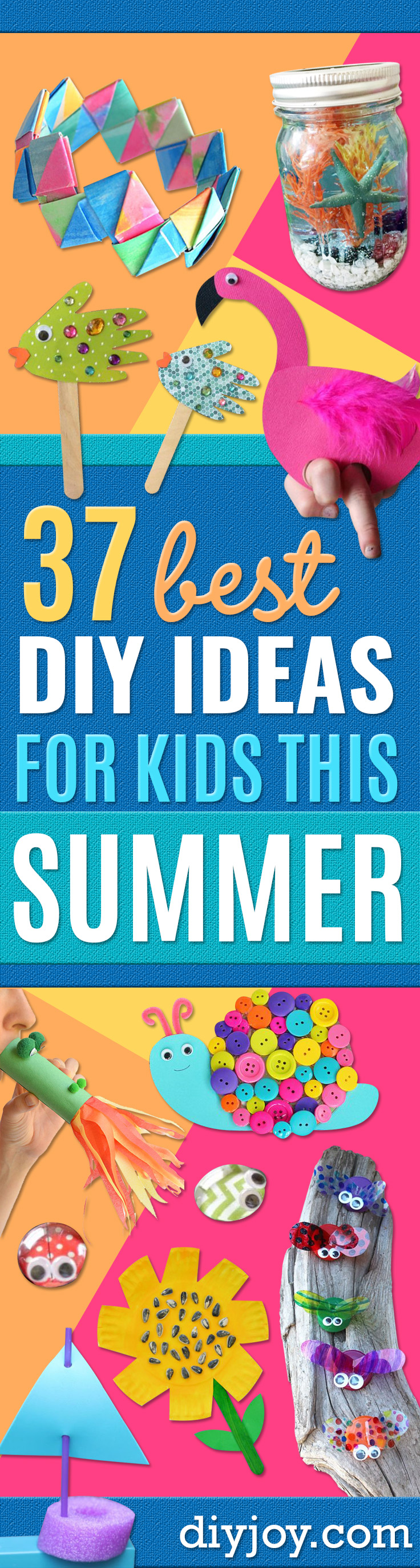 DIY Ideas for Kids To Make This Summer - Fun Crafts and Cool Projects for Boys and Girls To Make at Home - Easy and Cheap Do It Yourself Project Ideas With Paint, Glue, Paper, Glitter, Chalk and Things You Can Find Around The House - Creative Arts and Crafts Ideas for Children http://diyjoy.com/diy-ideas-kids-summer