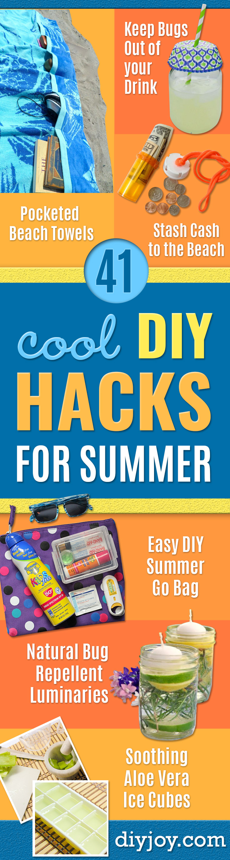 DIY Hacks for Summer - Easy Projects to Try This Summer To Get Organized, Spend Time Outdoors, Play With The Kids, Stay Cool In The Heat - Tips and Tricks to Make Summertime Awesome - Crafts and Home Decor by DIY JOY http://diyjoy.com/diy-hacks-summer
