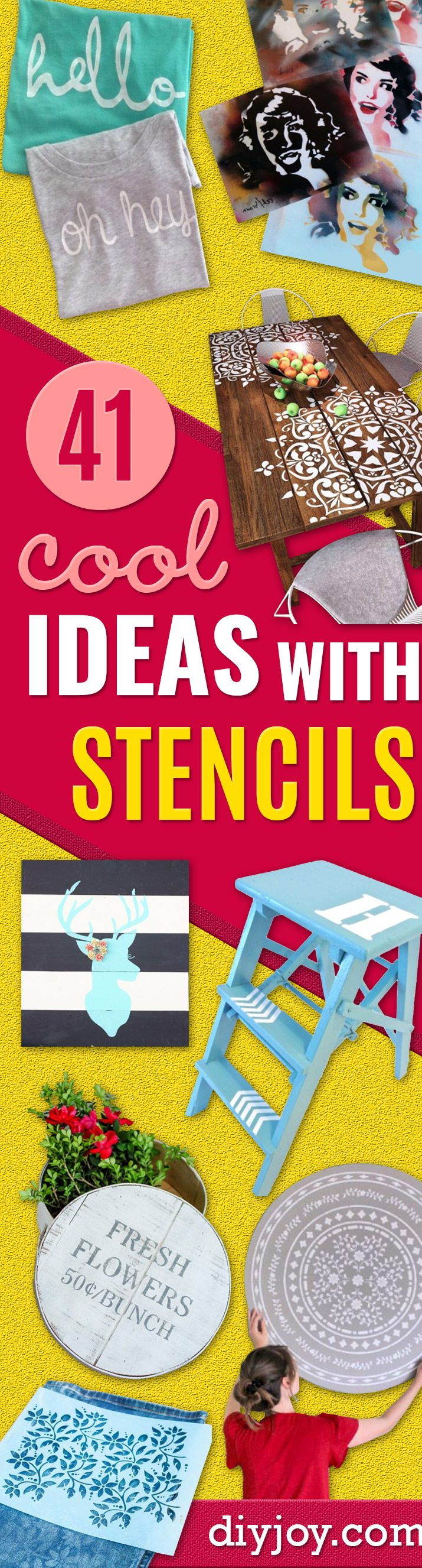 DIY Stencil Ideas - Cool and Easy Stenciling Tutorials For Making Handmade Wallpaper and Designs, Furniture Makeover Ideas and Crafty Modern Decor With Stencils - Rustic Farmhouse Paint Techniques and Step by Step Instructions for Using Stencil Art in Your Living Room, Bedroom, Bathroom and Crafts - How to Stencil Crafts Idea