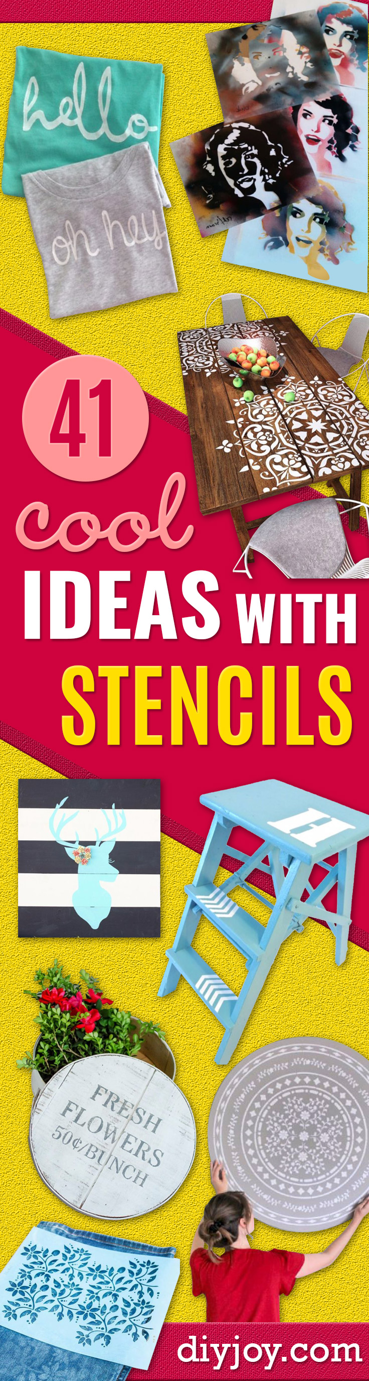 DIY Stencil Ideas - Cool and Easy Stenciling Tutorials For Making Handmade Wallpaper and Designs, Furniture Makeover Ideas and Crafty Modern Decor With Stencils - Rustic Farmhouse Paint Techniques and Step by Step Instructions for Using Stencil Art in Your Living Room, Bedroom, Bathroom and Crafts http://diyjoy.com/diy-stencil-ideas-projects