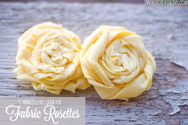 Best Quilting and Fabric Scraps Projects - 5 Minute Fat Quarter Rosettes - Easy Ideas for Making DIY Home Decor, Homemade Gifts, Wall Art , Kitchen Accessories, Clothes and Fashion from Leftover Fabric Scrap and Quilt Pieces - Cute Do It Yourself Ideas for Birthday, Christmas, Baby and Friends http://diyjoy.com/quilting-scraps-projects